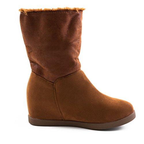 Damen Winter Keilabsatz Boots Stiefeletten Schuhe gefüttert in Wildlederoptik Khaki