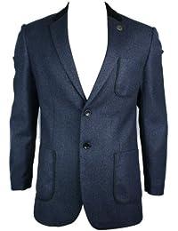 Mens Navy Blue Twead Black Velvet Elbow Patch & Trim Blazer Tailored Fit Smart Casual
