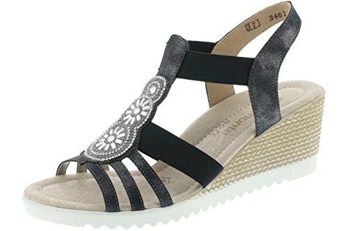 Sandale Compensée Femme Remonte D3461-45 Gris Graphite Grau