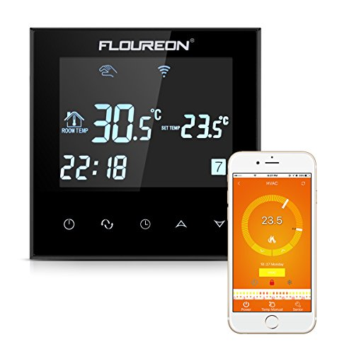 FLOUREON WLAN Thermostat Heizung programmierbar Wandthermostat für Fussbodenheizung Elektrisch Smart Digital Heizungsthermostat Heizungsregelung mit LCD Touchscreen