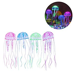 UEETEK 4pcs Glowing Artificial Jellyfish For Aquarium Fish Tank Aquarium decoration