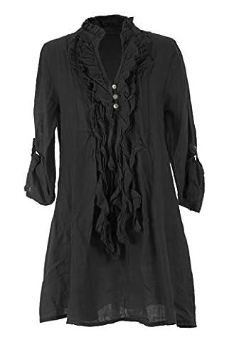 TEXTUREONLINE - Chemisier - Femme - noir - Taille Unique
