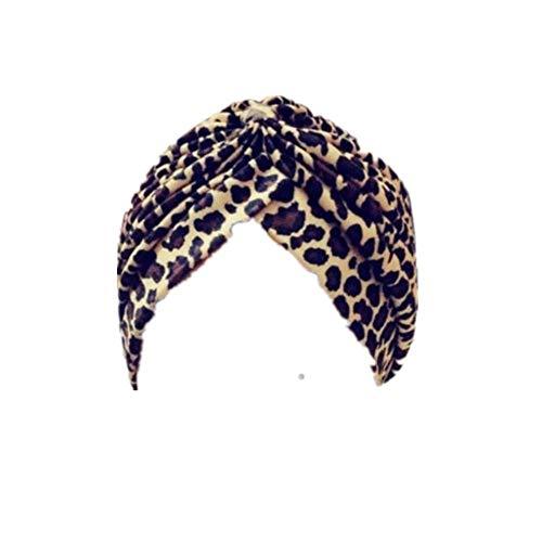 Dwevkeful Turbantes para Mujer Cancer, Estampada Leopardo Moda Casual Bufanda Musulmana Pañuelo Sombrero Gorro para Chemo Oncológico Pèrdida de Pelo Cabello