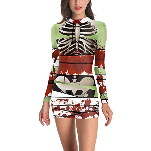 YCLOTH 3D-Damen-Kleid, Skelett-Rahmen, Halloween, Tunika, Lange Ärmel, Mini-Partykleid, Femme, Sommer, Strand (Damen Kostüme Für 2019 Beliebte Halloween)