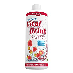 Best Body Nutrition - Low Carb Vital Drink, 1:80, Erdbeer-Rhabarber, 1000 ml Flasche