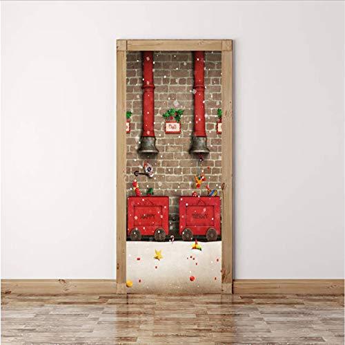 Amerikanische Ansicht Tür (Svsnm 3D Ansicht Tür Dekoration Aufkleber Für Schlafzimmer Wohnzimmer Weihnachten Tür Renovierung Selbstklebende Kleiderschrank Schiebetür Wandbild)