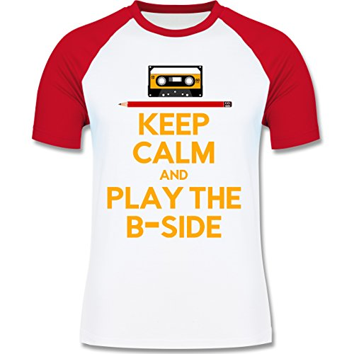 Music - keep calm and play the b-side - L140 Männer Raglan Baseball Shirt Weiß/Rot