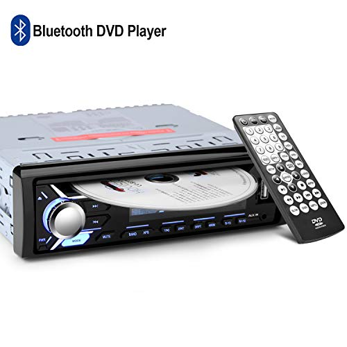 1 DIN Autoradio von AGPtEK, Bluetooth Audioreceiver, CD/DVD Player mit FM Radio, Fernbedienung & IOS Kabel mit enthalten, unterstützt MP3/USB/SD/AUX/FM/iPod/iPhone - MEHRWEG
