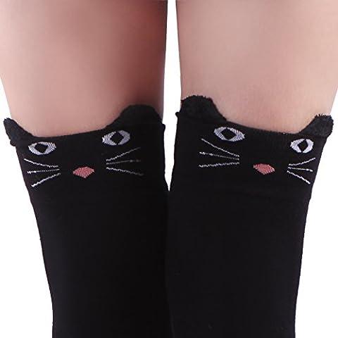 HDE Women's Extra Long Neko Cat Socks Over Knee High Stockings (Black Cat)