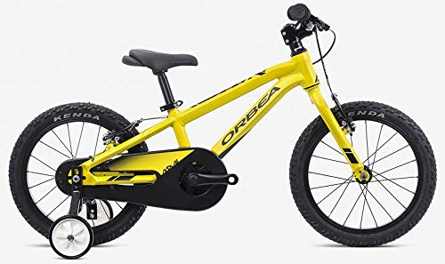 ORBEA MX 16 Zoll MTB Kinder Fahrrad 1 Gang Rad Aluminium Kids Mountain Bike Jungen Mädchen, J00716, Farbe Gelb