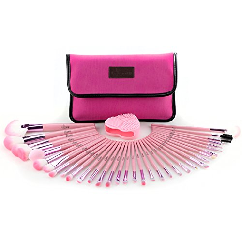 Glow Pink Professionelle Make-up-Pinsel-Set; enthalten 34 Make Up Pinsel, 1 Make-up-Pinsel Cleaner/Schrubber und 1 Make-up-Pinsel/Make-up Bürstenhalter (Form Paragon)