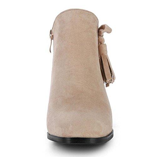 TAOFFEN Femmes Bottes De Cheville Bloc Talon Haut Bottines Franges Fermeture Eclair 1324 Ivory