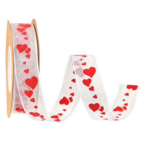 TUPARKA 15mm 10 Meter geschenkband Valentinstag Heart Printed stoffband Dekoration Valentines Geschenkverpackung Craft Supplies