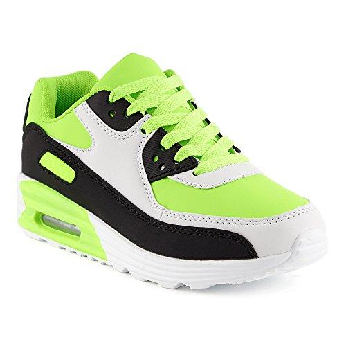 FiveSix Herren Damen Sneaker Sportschuhe Schnür Lauf Freizeit Fitness Dämpfung Low Top Unisex Schuhe Weiss/Schwarz/Grün-W EU - Yeezy 1 Nike