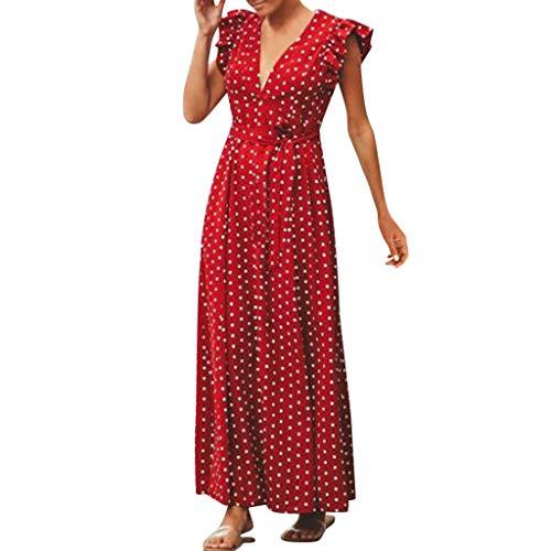 MAYOGO Sommerkleid Damen Polka Dots Maxikleider Volant Kleider,Ohne ärmel,V-Ausschnitt (Knie Hoch, Traube)