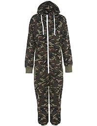 Stacy Unisex-Kinder Plain Aztekmuster oder Armee Camouflage-Muster Kapuzen Overall Onesie