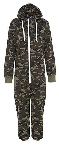 Gracious Girl Stacy Combinaison Pyjama à capuche mixte pour enfants Zippé Uni ou à imprimés aztèques - Vert - Militaire - 12