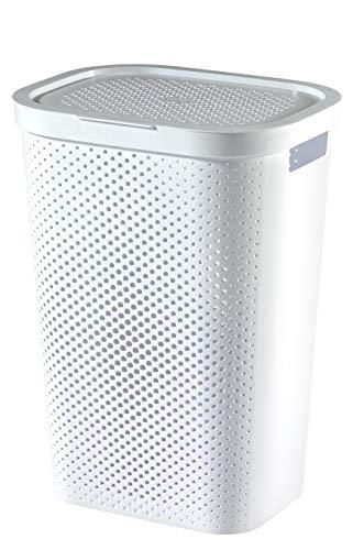 CURVER Wäschebox Infinity mit Punktmuster 59l in weiß, Plastik, 35 x 25 x 10 cm