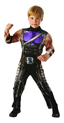 Halloweenia - Jungen Kinder Hawkeye Deluxe Kostüm aus Avengers Assemble mit Einteiler und Muskelpolster, perfekt für Karneval, Fasching und Fastnacht, 128-140, Schwarz