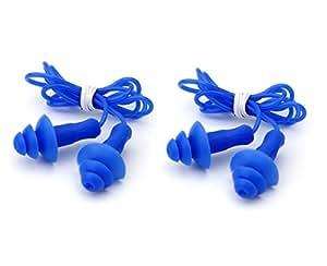 2coppie di adulti silicone nuoto a spinta tappi per le orecchie e cordoncino di sicurezza–blu