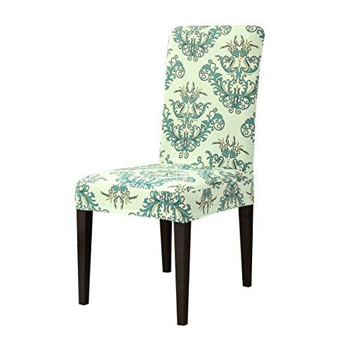 Subrtex coprisedie con schienale stampa floreale copertura della sedia da pranzo, copertura protettiva decorative elasticizzato rimovibile lavabile (4 pezzi, verde)