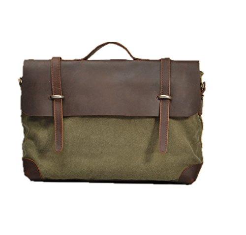 Fashion Plaza unisex uomo donna in pelle crazy horse, con borsa a tracolla in tela, borsa per Laptop da uomo, stile casual, con valigetta (small) C5062, verde (Verde) - 5062 verde