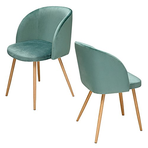 Beshomethings Velvet Fabric Tub Accent Chair Upholstered Armchair Dining Living Room Lounge Office Modern Seat Furniture,Set of 2 (Green)