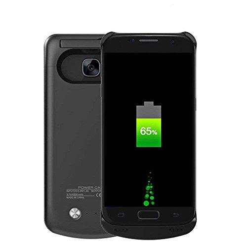 NOVPEAK Galaxy S7 Akku Hülle, Battery Charger [Stoßfest] Anti-Rutsch Batterie Case Eingebautem Akku Backup-Ladegerät PowerBank Schutzhülle + Kickstand für Samsung S7