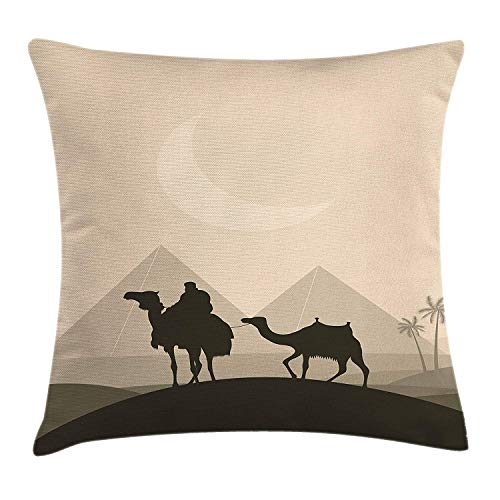 Egyptian Throw Pillow Cushion Cover, Desert Bedouin Caravan in Africa Camels Cairo Silhouette at Night, Decorative Square Accent Pillow Case, 18 X 18 Inches, Dark Taupe Beige Sage Green -