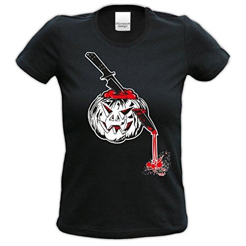 Kürbis ::: Tolles Halloween-Kostüm-Fun-Sprüche-T-Shirt für Mädchen und Damen Party-Outfit-Bekleidung Farbe: schwarz Schwarz