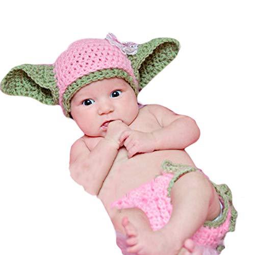 dchen häkeln Kostüm Outfits Fotografie Requisiten Meister Yoda Outfit Rosa Hut+Hose 0-6 Monate ()