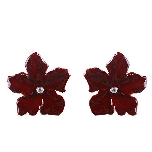 YAZILIND Mode schmuck hochwertige legierung elegante blume form anhänger ohrstecker für frauen mädchen 6 farben erhältlich (weinrot)