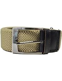 Cinturón Elástico para Hombres con Cuero Natural / Hebilla Cuadrada