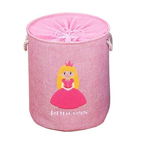 WENYAO Große Lagerplätze Kordelzug Runde Wäschekorb Stoff Faltbare Spielzeugkorb für Babys Kinderzimmer Schlafzimmer Prinzessin - Runde Lagerplätze