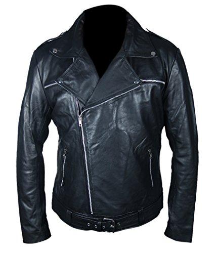 Leatherly Chaqueta de Hombre Negan The Walking Dead Cuero Chaqueta- XL