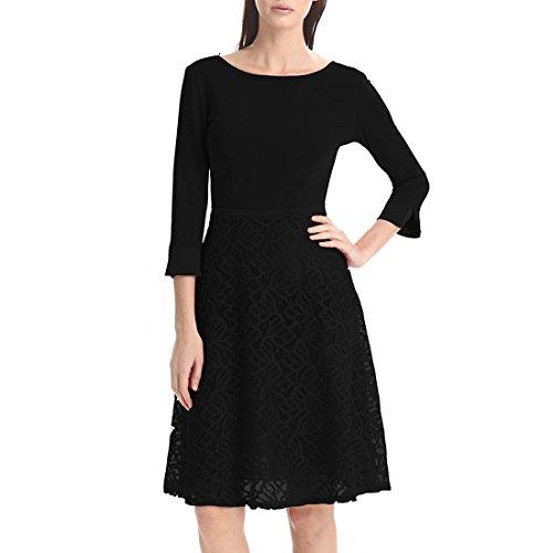 KAXIDY Robe de Soirée Femme 3/4 Manche Robe Soiree Robe de Cocktail Vêtements de Bureau Noir