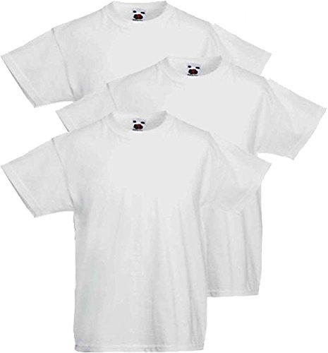 3 t-shirt bimbo fruit of the loom walueweight in cotone 100% art 610330 (7-8 anni h. 128 cm, bianco)