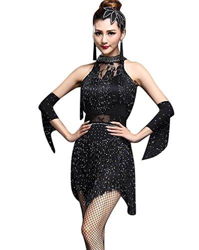 NiSeng Damen Quasten Swing Rhythmus Jazz Latein Dance Kleid Lateinisches Tanzkleid M Schwarz (Lateinamerikanische Frauen)