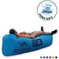 Inflatable Lounger, Air Sofa No Pump Needed, Couch Bed with Headrest, Space Saving Ideal for Camping and Outdoor Use Includes Waterproof Phone Case Anchor Stake and Carry Pouch