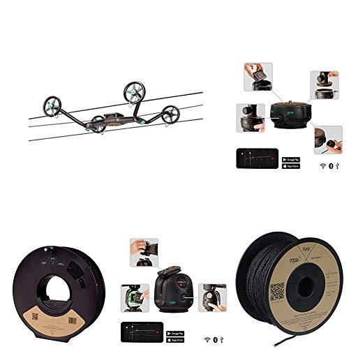 Syrp Slingshot Cable Cam, Time-Lapse bis zu 100m Länge + Genie II Linear Motion Control + Pan Tilt Motion Controller Bewegungssteuerung + Genie-Seil - 10 Meter + Slingshot Cable Cam-Seil - 100 Meter Pan Tilt Controller