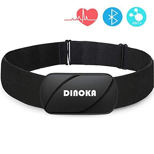 DINOKA Sensore di Frequenza Cardiaca Bluetooth 4.0 Ant +, Fascia Toracica Cardiofrequenzimetro,Monitor della Frequenza Cardiaca, Monitor del Torace per Smartwatch,Android e iOS per App