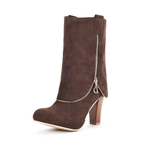 WYWQ Flanging Knight Boots 40-43 Stivali tacco medio con tacco alto autunno e inverno Stivali metà tubo con tacco rosso, nero, marrone, grigio brown