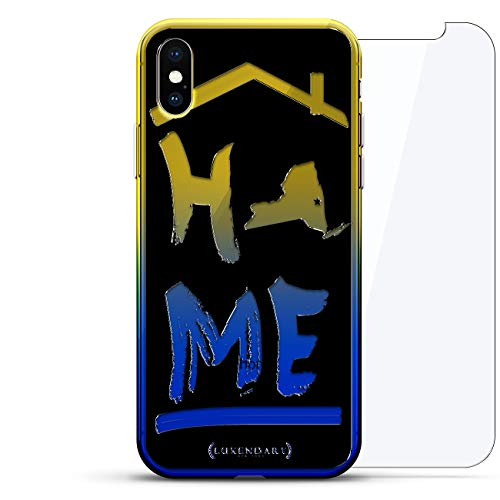 City & States: New York Home: Black and The Luxendary Gradient Series 360 Bundle: Transparente ultradünne Silikonhülle + gehärtetes Glas für iPhone XS Max (6,5 Zoll) in Sunrise Blue - Chrome New York Glas