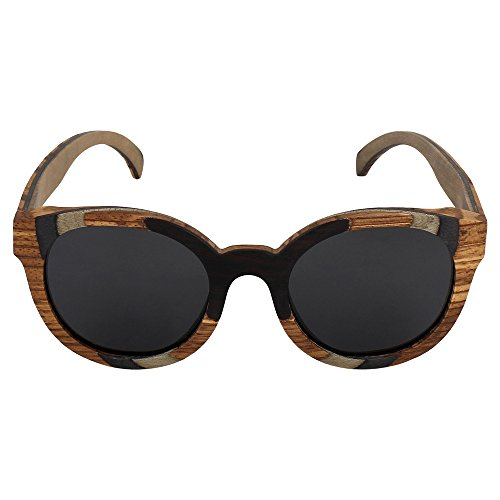 Caprio Black & Brown Wooden Frame Oval Sunglasses For Women