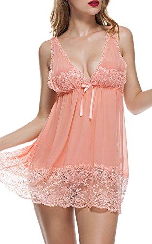 BMAKA Reizwäsche Spitze Damen Kleid V-Ausschnitt nachthemd sexy Lingerienachtwäsche Unterwasche Negligee mit G-String (XL, Rosa) (Fantastische Vintage-nachthemd)