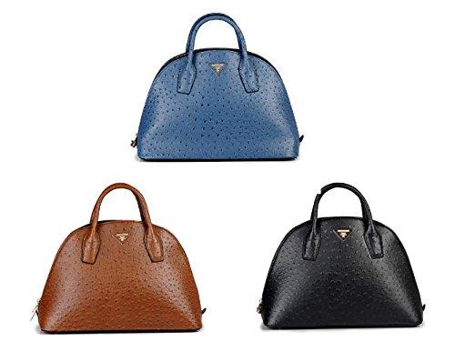 GetThatBag®-Emmy Struzzo Borsa in pelle goffrata, colore: marrone/blu/nero, marrone (Brown),