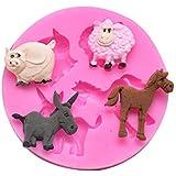 Doitsa Molde silicona para repostería en color aleatorio, 1 unidad (oveja, caballo,