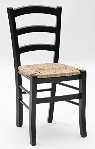 Arredinitaly set composto da 2 sedie in legno colorato con sedile impagliato - dimensioni l.43 p.42 h.88 cm. seduta h.47 cm.