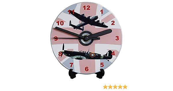 DIY CD Clock KIT RAF Spitfire /& Lancaster on Union Flag Wall or Desk Clock