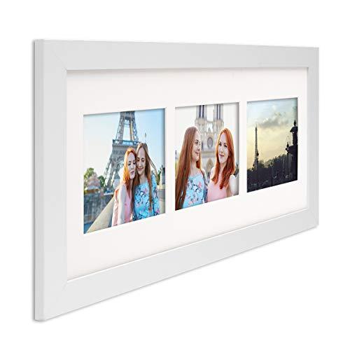 PHOTOLINI Fotocollage-Bilderrahmen Modern Weiss aus MDF Collagerahmen Bildergalerie-Rahmen für 3 Bilder 10x15 cm Wechselrahmen mit Passepartout (Galerierahmen Weißer)